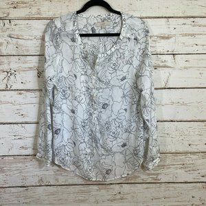 Ann taylor semi-sheer 1/2 button down blouse flora